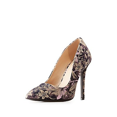 Qupid Floral Pointed Toe Pumps