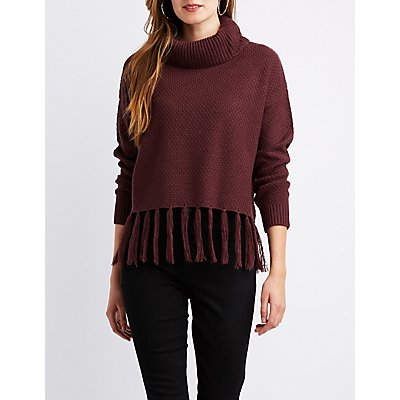 Fringe-Trim Cowl Neck Cropped Sweater