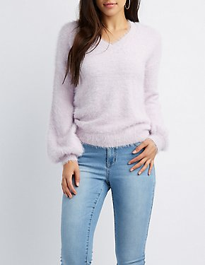 Feather Yarn V-Neck Sweater