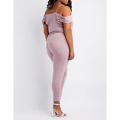 Plus Size Cold Shoulder Surplice Jumpsuit