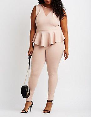 Plus Size Mesh-Inset Peplum Jumpsuit