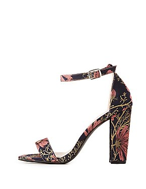Floral Printed Two-Piece Sandals