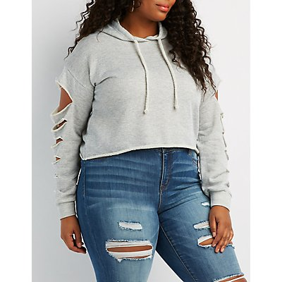 Plus Size Destroyed Crop Hoodie