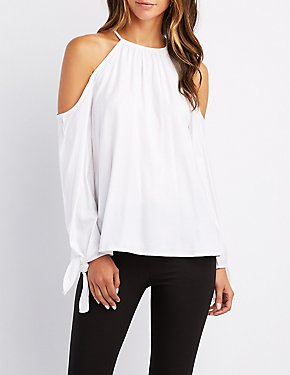 Bib Neck Tie-Sleeve Cold Shoulder Top