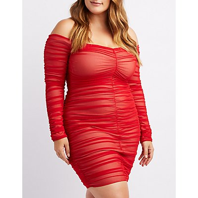 Plus Size Off-The-Shoulder Ruched Bodycon Dress