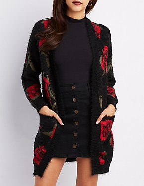 Feather Knit Floral Open-Front Cardigan