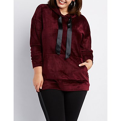 Plus Size Velvet Hooded Sweater Dress
