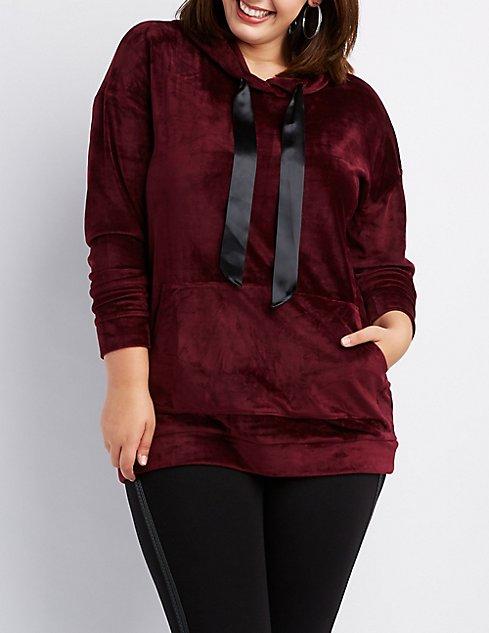 d9eef501503 Plus Size Velvet Hooded Sweater Dress