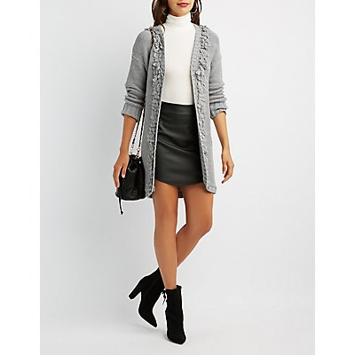 Open-Front Cable Knit Cardigan