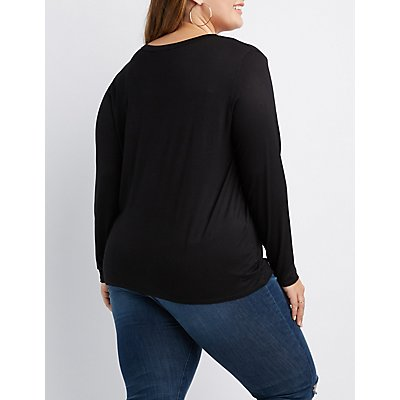 Plus Size Caged Stretchy Knit Tee