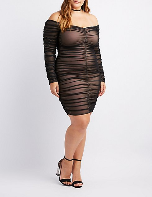 Plus Size Mesh Ruched Bodycon Dress | Charlotte Russe