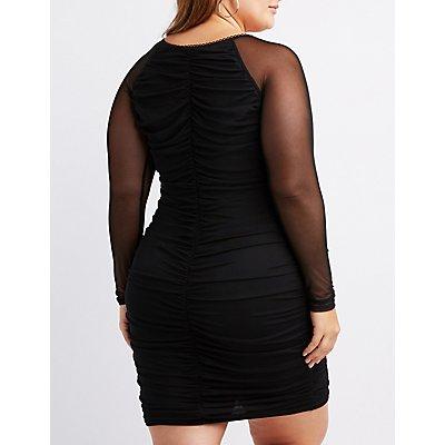 Plus Size Ruched Scallop-Trim Bodycon Dress