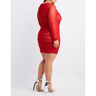 Plus Size Ruched Scallop-Trim Bodycon Dress