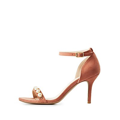 Qupid Pearl Embellished Ankle Strap Sandals