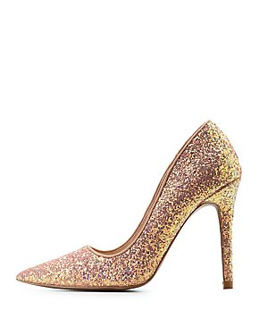 Qupid Glitter Pointed Toe Pumps