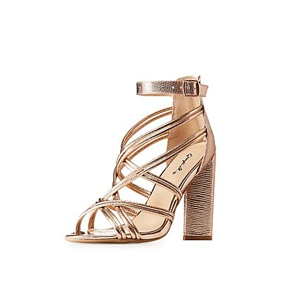 Qupid Metallic Strappy Caged Sandals