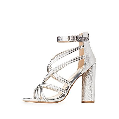 Qupid Metal Strappy Caged Dress Sandals
