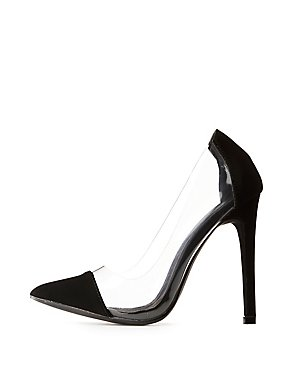 Clear & Faux Nubuck Pointed Toe Pumps