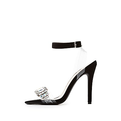 Qupid Crystal-Trim Two-Piece Sandals
