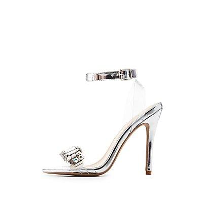 Qupid Crystal-Trim Ankle Strap Sandals