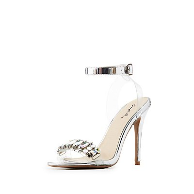 Qupid Crystal-Trim Ankle Strap Sandals