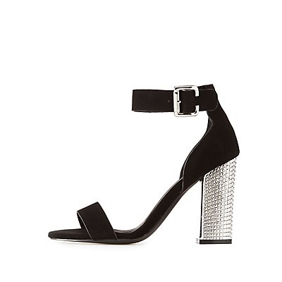 Qupid Ankle Strap Studded Metallic Heel Sandals
