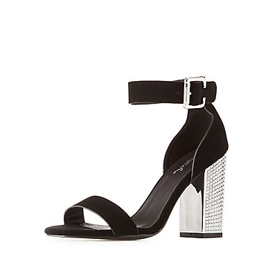 Qupid Ankle Strap Studded Metallic Heel Sandals
