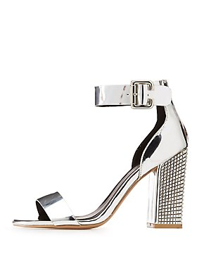 Qupid Two-Piece Studded Metallic Heel Sandals