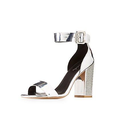 Qupid Two-Piece Studded Metallic Heel Sandals