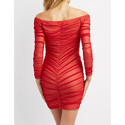Mesh Ruched Bodycon Dress