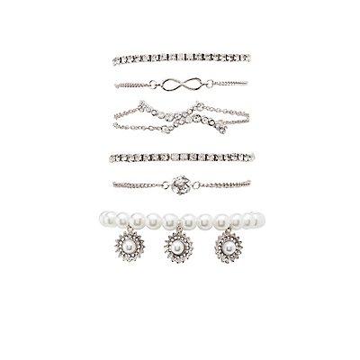 Embellished Layered Bracelets - 4 Pack