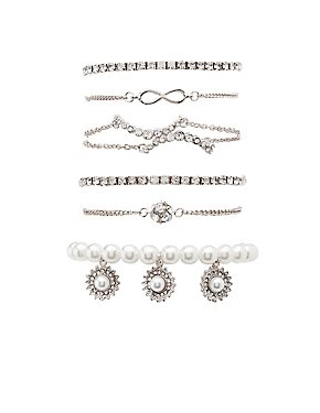 Embellished Layered Bracelets - 4 Pack