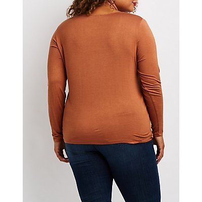 Plus Size Lattice-Front Top