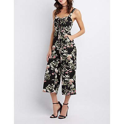 Floral Lace-Up Jumpsuit