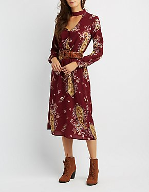 Paisley Choker Neck Maxi Dress