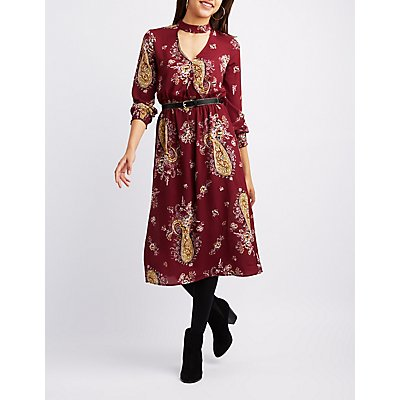 Paisley Choker Neck Midi Dress