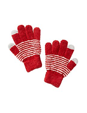 Striped Chenille Gloves