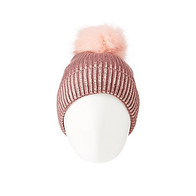 Metallic Pom Pom Baseball Hat