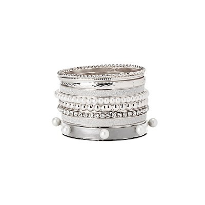 Faux Pearl & Embellished Bangles - 9 Pack