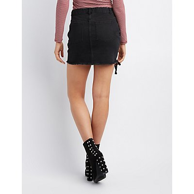 Lace-Up Frayed Denim Mini Skirt