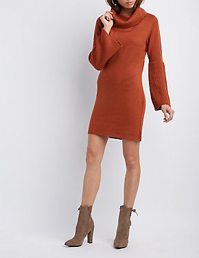 Cowl Neck Bell Sleeve Sweater Dress