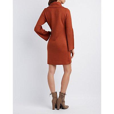 Cowl Neck Bell Sleeve Sweater Dress