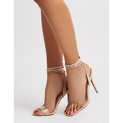 Qupid Clear Strappy Ankle Wrap Sandals