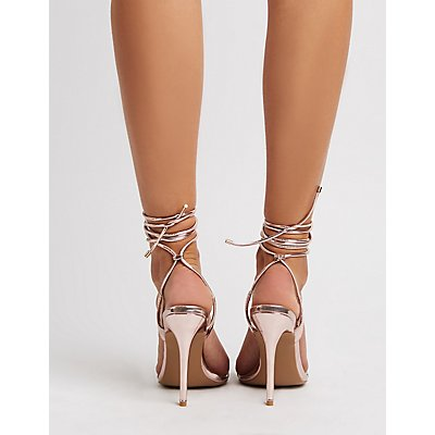 Qupid Clear & Metallic Strappy Wrap Sandals