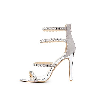 Qupid Studded Strappy Caged Sandals