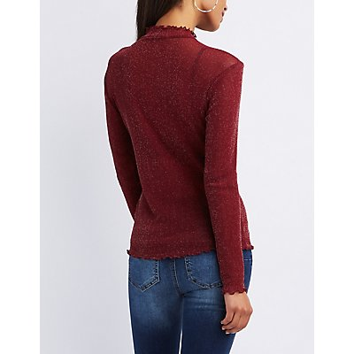 Ribbed Lettuce-Trim Mock Neck Top