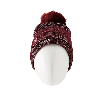 Faux Fur-Lined Knitted Pom Pom Beanie
