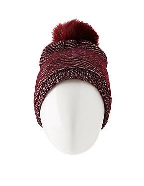 Faux Fur-Lined Knitted Pom Pom Beanie