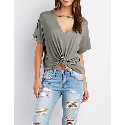 Choker Neck Cut-Out Knotted Tee