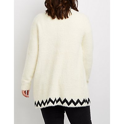 Plus Size Geometric-Patterned Fuzzy Cardigan